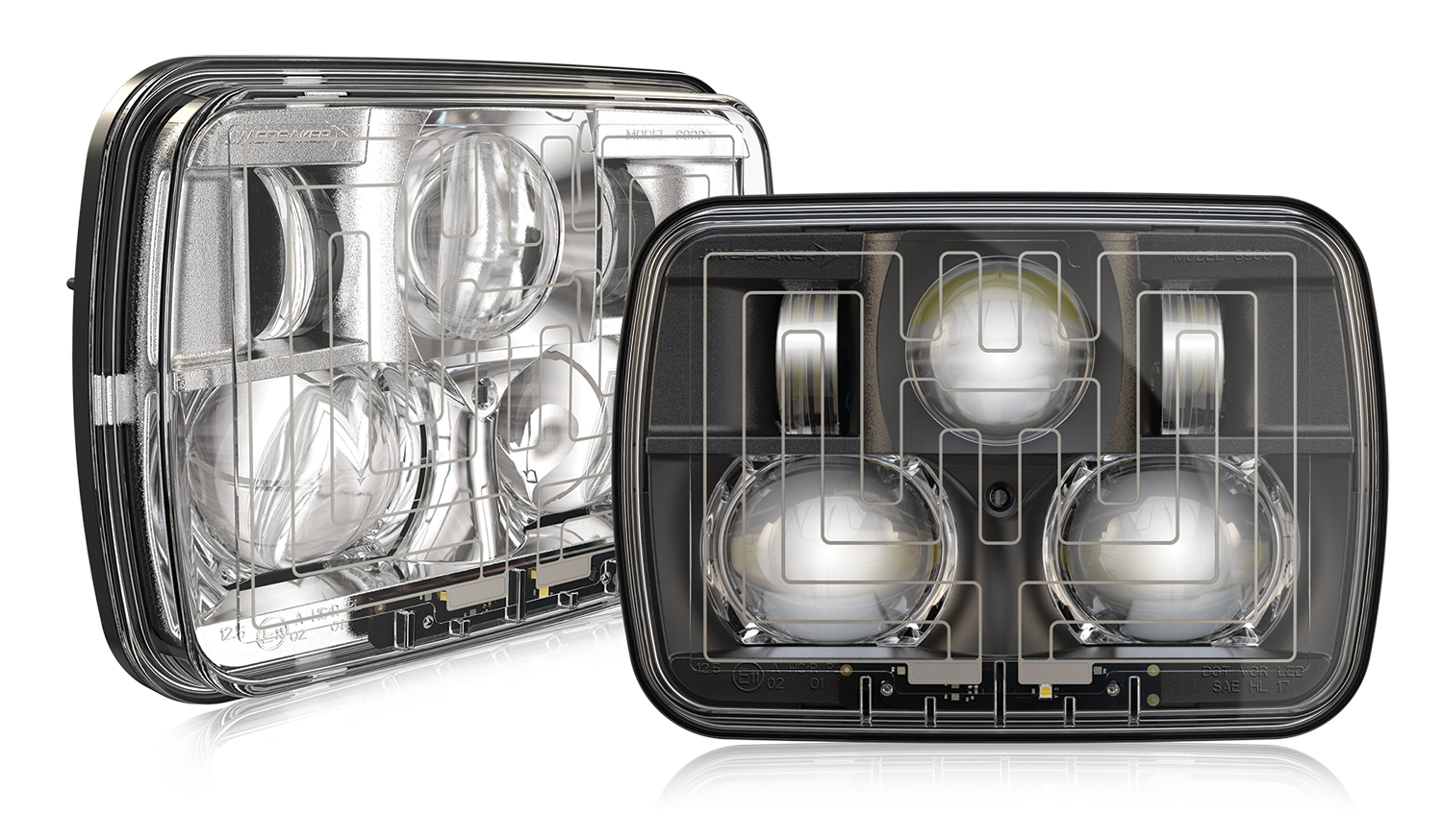 The Model 8910 Evolution 2 Heated LED headlights from J.W. Speaker feature SmartHeat technology to automatically de-ice lneses!