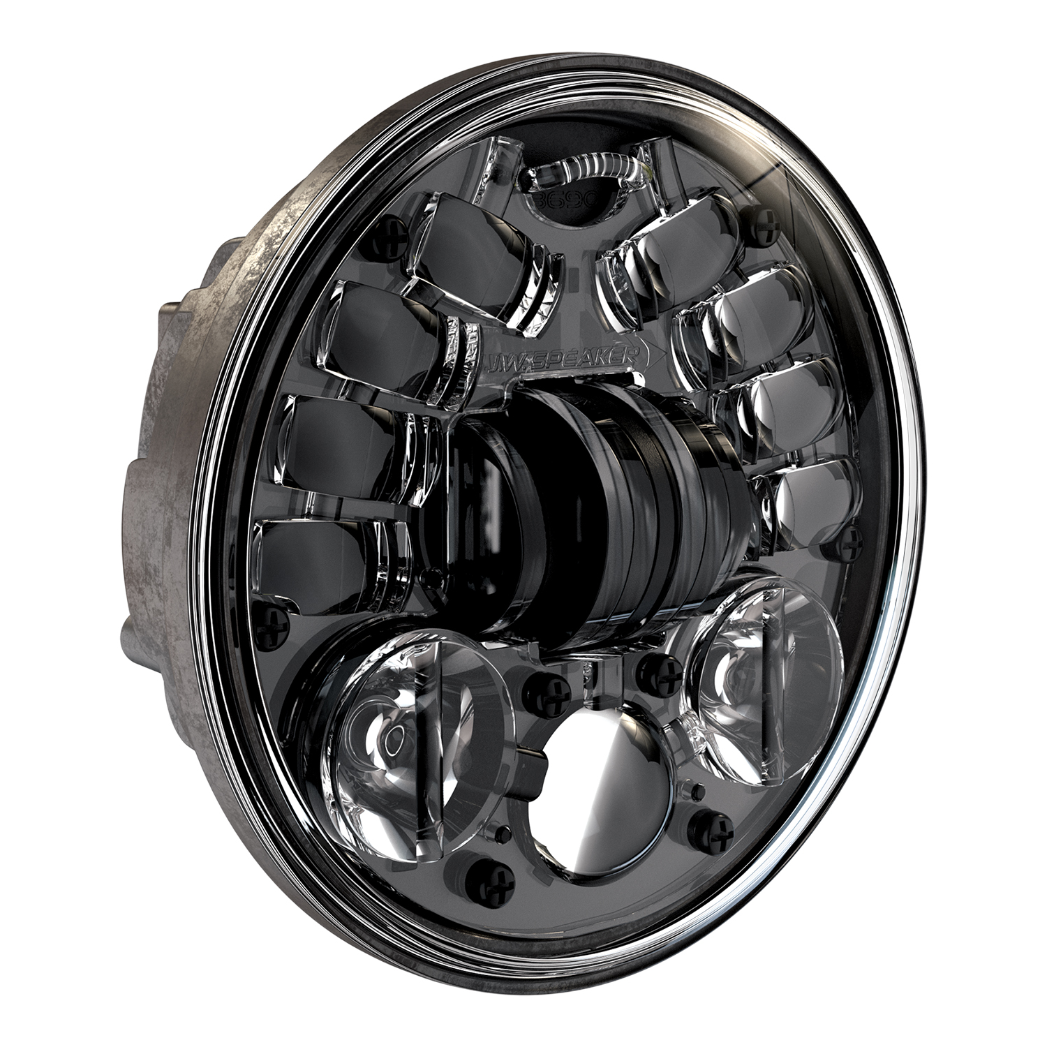 LED Motorcycle Headlight Model 8690 Adaptive 2 with Black Bezel, 3/4 View