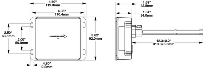 Model 6400 DC/DC Converter Part 0842362 Dimensions