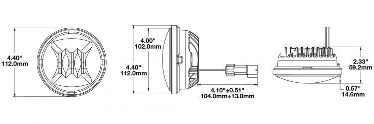 LED Fog Light Model 6045 Dimensions