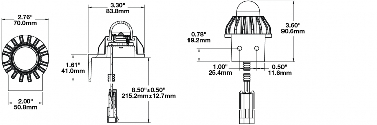 LED Interior Light Model 408 with Bracket Dimensions