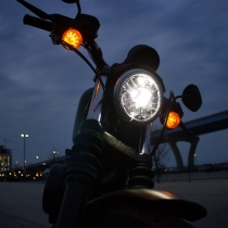 LED Motorcycle Headlight Model 8690 Adaptive, Installed Close Up