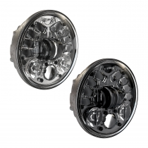 LED Motorcycle Headlight Model 8690 in Black and Chrome, 3/4 Views (non-adaptive)