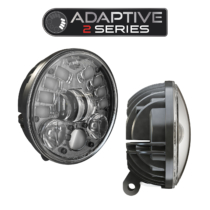 LED Motorcycle Headlight Model 8691 Adaptive 2 with Black Bezel, 3/4 and Side View