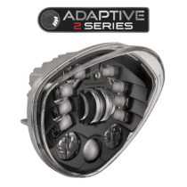 LED Motorcycle Headlight Model 8695 Adaptive 2 with Black Bezel, 3/4 View