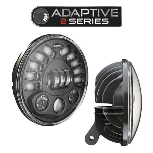LED Motorcycle Headlight Model 8791 Adaptive 2 with Black Bezel, 3/4 and Side View